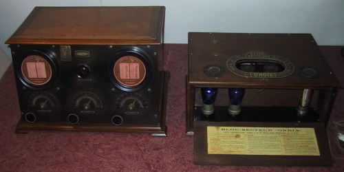 Ondia 4 lampes intérieures 1924 +Ondia Bloc Secteur 1924