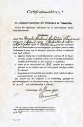 Diploma Radiotelegrafist op schepen. 6 Juni 1921