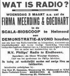 Advertentie: Demonstratie-avond in Helmondse bioscoop: uit de Zuid-Willemsvaart 3-3-1926