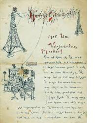 Brief aan Cor zijn moeder vanwege haar verjaardag in Maart 1921
